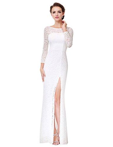 Ever-Pretty Womens Sexy Sheer Round Neckline Thigh High Slit Wedding Dress 10 US White