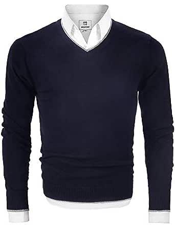 MOCOTONO Men's V Neck Pullover Sweater Long Sleeve Cotton Casual Sweat Dress,Navy Blue,Small