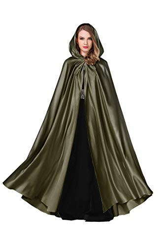 BEAUTELICATE Women's Wedding Hooded Cape Bridal Cloak Poncho Full Length (More Colors) (Army Green) ()