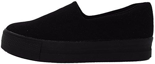 C03 30 Synthetic Cotton Platform Slip on Sneakers Black 6.5 B(M) US Womens