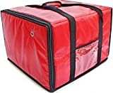 TrueCraftware - Large Red Insulated Pizza Pie Delivery Bag - Fits Six 18'' Pizza Boxes - 20 x 18 x 13''