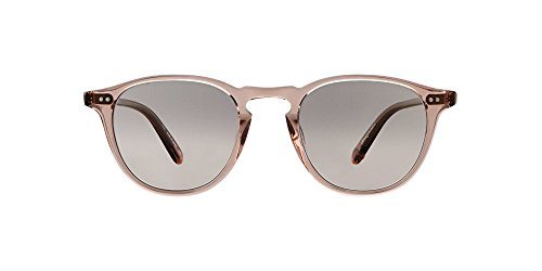 - Garrett Leight Round Hampton Sunglasses in Desert Rose/Semi-Flat Pink Haze Mirror