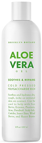 Brooklyn Botany Aloe Vera Gel - New and Improved Gel Formula - Soothes and Hydrates Dry, Itchy, or Irritated Skin; great for Acne, Dandruff, Sunburn, Rashes - 8 oz