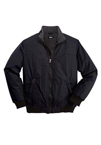 Kingsize Men's Big & Tall Fleece-Lined Bomber Jacket, Black Tall-Xl