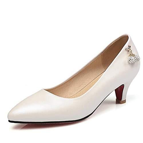 Mujer ZHZNVX Rosa Zapatos Basic White Spring Negro de Aguja Blanco Talones PU Poliuretano Tacón Pump de qEqTwFrApx
