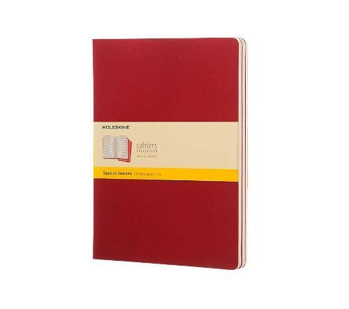 Moleskine Cahier Journal (Set of 3), Extra Large, Squared, Cranberry Red, Soft Cover (7.5 x 10)