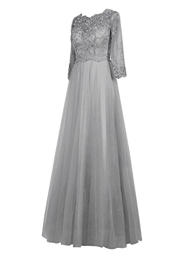 White the Fanciest Lang rmeln Mother Bride Damen mit of Abendkleider Spitzen RwXwZvqxB