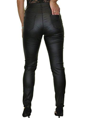 Jeans Femme Haute Noir pour en Taille Similicuir Extensible 48 Ice 38 RqwdnR