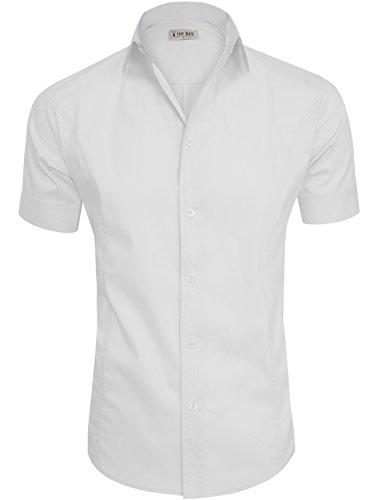 TAM WARE Mens Casual Plain Short Sleeve Button Down Shirts TWCMS19A-WHITE-US M
