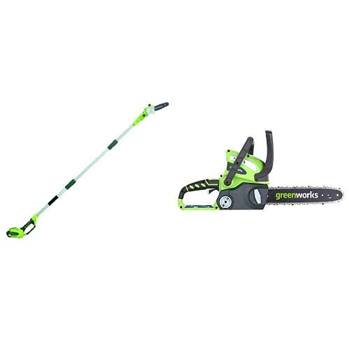 Greenworks 8.5' 40V Cordless Pole Saw, 2.0 AH Battery Included 20672 with  12-Inch 40V Cordless Chainsaw, Battery Not Included 20292