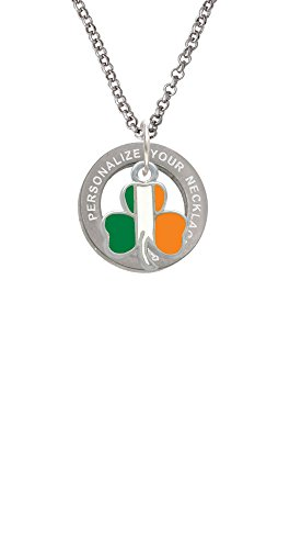 2-D Irish Flag Shamrock Custom Engraved Affirmation Ring Necklace