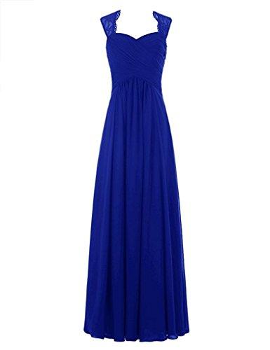 a langes Chiffon Brautjunfer Hochzeitskleid line gefaltetes Schatz Königsblau B¨¹gel Frauen Spitze Kleid HWAN 5xqF8pZw8