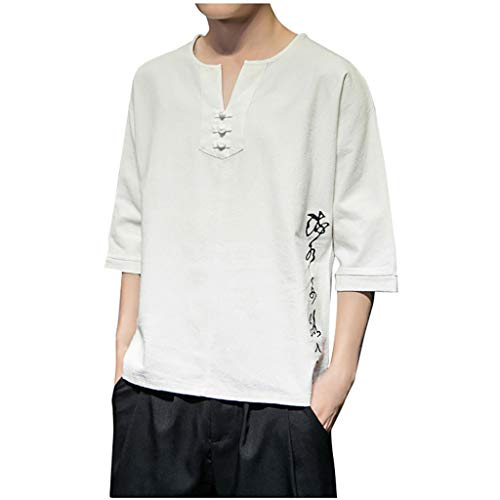 Summer Short Sleeve Linen Shirt for Men, Huazi2 Casual Solid Crew Neck Tops White