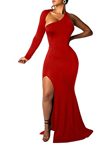 (BEAGIMEG Women's Sexy Elegant One Shoulder Backless Evening Long Dress Red 2)