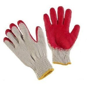 (300 Pairs of Red Latex Palm Coated Work Safety Gloves, Rubber Palm Coated Safety Cotton Gloves,)