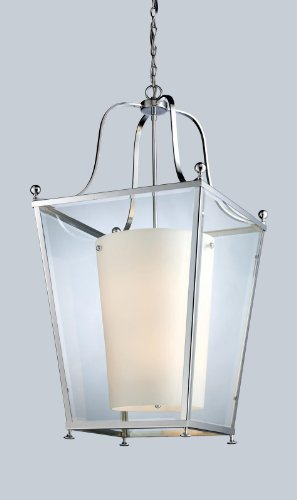 Z-Lite 178-6 Ashbury Six Light Pendant, Metal Frame, Chrome Finish and Clear Beveled Outside Glass and Matte Opal Inside Glass Shade of Glass Material - Pendant Ashbury