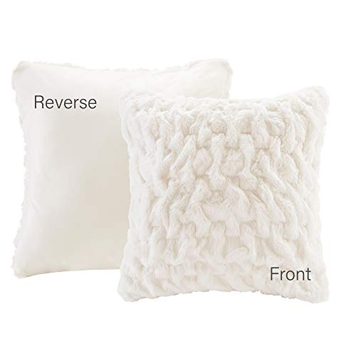 Comfort Spaces Ruched Faux Fur Plush 3 Piece Throw Blanket Set Ultra Soft Fluffy with 2 Square Pillow Covers, 50″x60″, Ivory