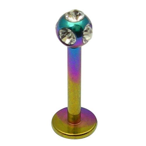 Labret en titane strass bijoux Multicolore/arc-en-ciel cristal transparent en métal avec strass Calibre 1,2 mm longueur 12 mm multi Strass Boule 3 mm l Body Jewellery piercing Labret/lèvre/Tragus