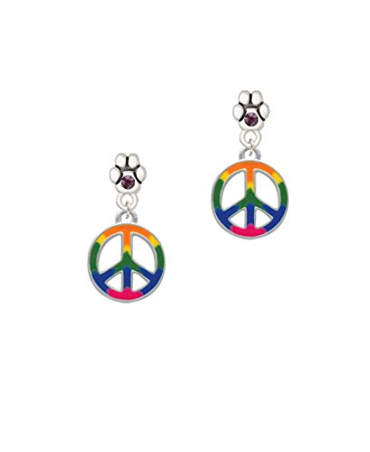Large Rainbow Colored Peace Sign - Purple Crystal Paw Earrings ()