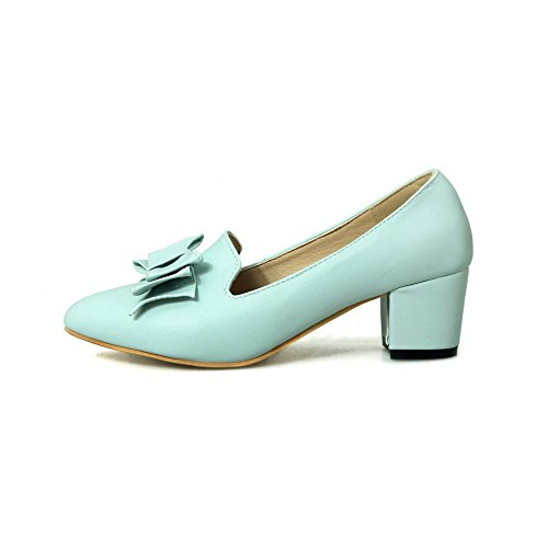 AmoonyFashion Womens Pointed Closed Toe Kitten Heels Soft Material Solid Pull On Pumps-Shoes Blue HDDcJaapV