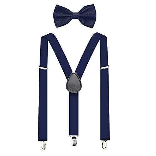 Suspenders For Men,Women Adjustable Suspends Bow Tie Set Solid Color Y Shape (Navy Blue)