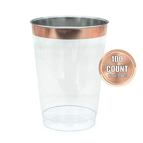 Extra Heavyweight Tumbler - 12oz Rose Gold Plastic Cups-100pack Clear Plastic Cups with Rose Gold Rim-Wedding/Party Disposable Cups-Heavyweight Plastic Tumblers (Rose Gold Trim)