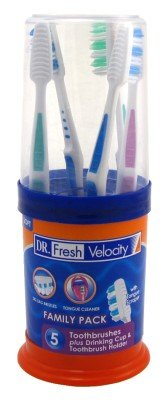 Dr. Fresh Toothbrush Family Pack 5 Count Plus Cup & Holder