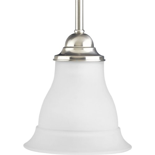 Progress Lighting P5096-09 1-Light Mini-Pendant, Brushed Nickel - Brushed Nickel 100w Stem