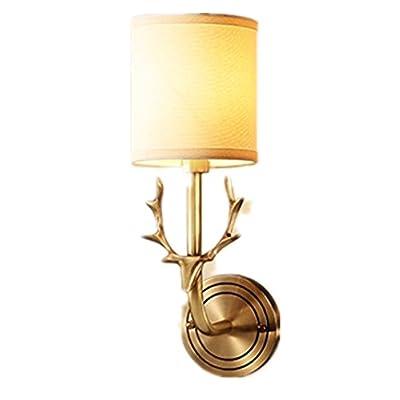 TX Nouveau Tout-Bronze American Cerf Tête Lampe De Mur Salon Chevet Lampe De Mur Lentille Frontale Tête Unique Antler Mur Lampe.