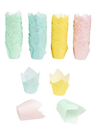 Tulip Cupcake Liners - 400-Pack Medium Baking Cups, Muffin Wrappers, Perfect for Birthday Parties, Weddings, Baby Showers, Bakeries, Catering, Restaurants, 4 Assorted Pastel Colors ()