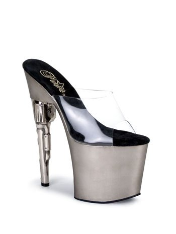 Pewter Slip On Gun Heel Stripper Platform Sandal - 12