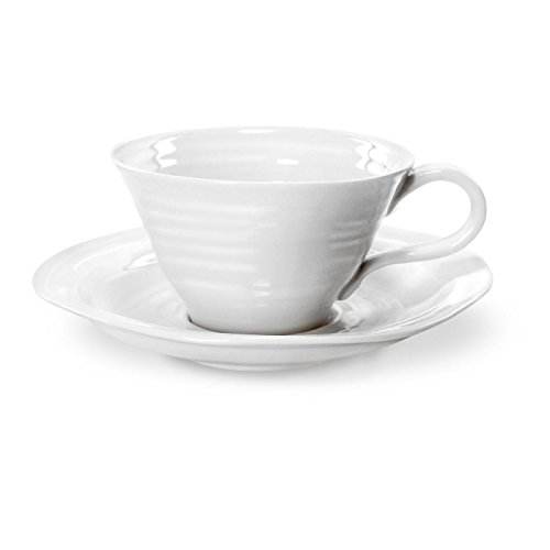 (Portmeirion Sophie Conran White Teacup and Saucer, Set of 4)