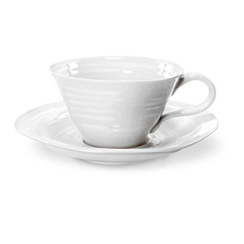 (Portmeirion Sophie Conran White Teacup and Saucer, Set of)