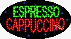 Espresso Cappuccino LED Sign - 27 x 15 x 1 inches - Made in ()