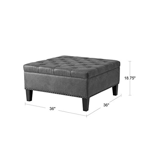 Madison Park Lindsey Square Tufted Large Faux Leather, All Foam, Wood Frame Brown Cocktail Ottoman Modern Design Coffee Table for Living Room, Taupe