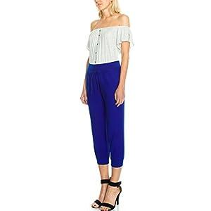 KLKD Women's Linen Blend Pocket Capri Joggers Royal Blue Medium