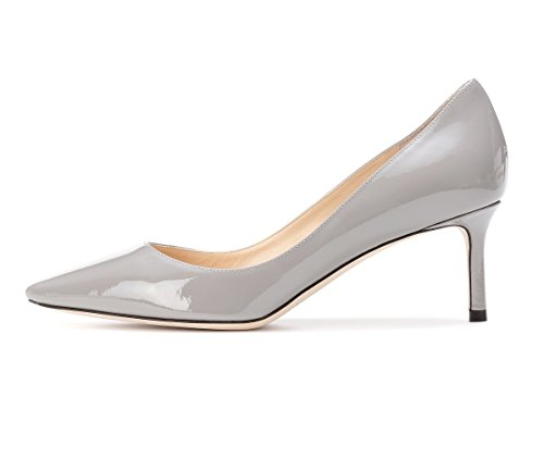Sammitop Women's Kitten Heels Shoes Elegant Party Prom Dress Pumps 65mm Heel Grey Patent US5