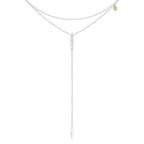 Tacori SN214 Ivy Lane Sterling Silver Surfboard Lariat Necklace (0.11 cttw, H-I Color, I2-I3 ()