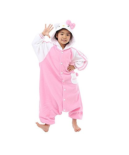 SSJ Kigurumi Hello Kitty Style Costume [ 47in-59in for Kids ] Pajamas (55in-59in, (Child Hello Kitty Costumes)