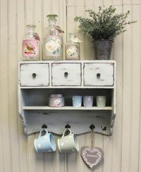 shabby chic wooden vintage white wall unit cupboard rack 3 drawers rh amazon co uk shabby chic wall mirrors shabby chic wall vase
