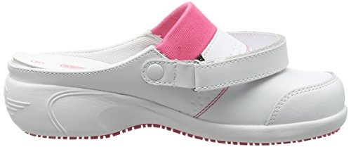Oxypas Move Up Sandy Slip-resistant, Antistatic Nursing Clogs with Heel in White with Fuchsia Size EU 36 / UK 3