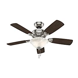 Hunter 52080 Caraway 44-Inch Snow White Ceiling Fan with Five Snow White Blades and a Light Kit 7 Included pull chain allows for quick and easy on/off and speed adjustments Limited Lifetime Motor Warranty is backed by the only company with over 125 years in the fan business Includes bowl light kit with Florence glass