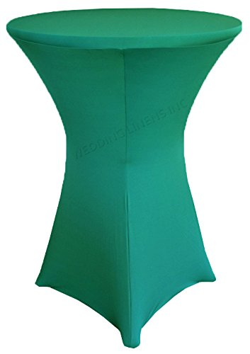 Wedding Linens Inc. Wholesale (200 GSM) 30 in x 42 in Cocktail Highboy Spandex Stretch Fitted Round Table Cover Tablecloths Jade