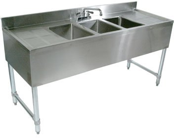 (John Boos EUB3S60-2D Stainless Steel Underbar Sink, 3 Bowls, Left Hand and Right Hand Drain Boards, Splash Mount Faucet, 32.5