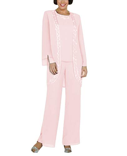 (LoveeToo Women's Chiffon 3 Pieces Jewel Mother of The Bride Evening Dresses Pant Suit Long Sleeves with Jacket(US8,Pink ))