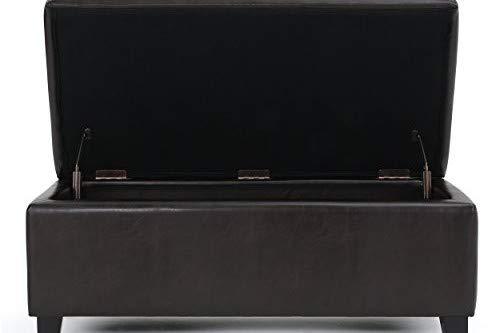 Mataeo Espresso Brown Leather Storage Ottoman GDF Studio 300169