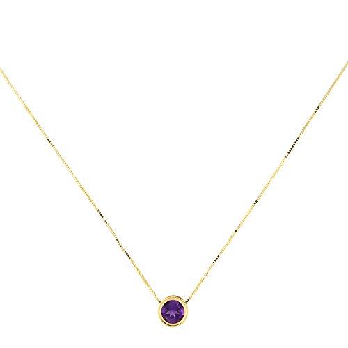 14k Yellow Gold 7mm Genuine Amethyst February Birthstone Bezel Set Slide Pendant Necklace, ()