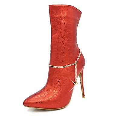 NVXUEZIX Femme Chaussures Similicuir Automne Hiver Bottes à la Mode Doublure Fluff Bottes Bout Pointu Bottes Mi-Mollet Imitation Perle Fermeture, us6 / eu36 / uk4 / cn36