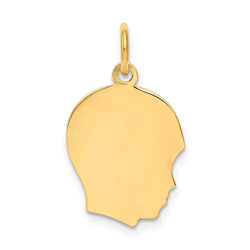 Mireval 14k Yellow Gold Plain Medium .011 Gauge Facing Right Engravable Boy Head Charm (13 x 21 mm)