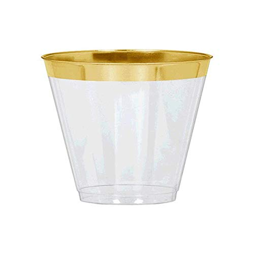 Amscan Party Tableware, Premium Plastic Tumblers, Party Supplies, Gold Trim, 9 Ounces, 24ct